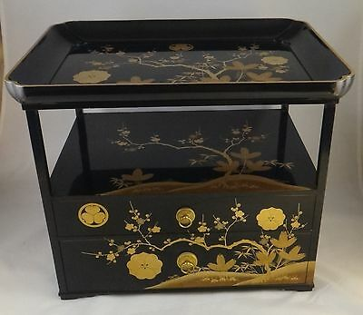 Antique Japanese Meiji Period Lacquer Box w/2 Drawers & Gilt floral. Lt 19th / 2