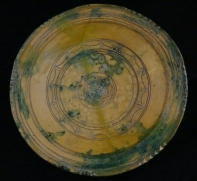 """Persian glazed pottery bowl 10th / 11th c. Nicely decorated. 10 ¾"""" dia."""