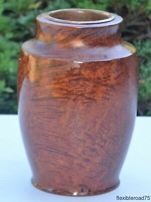 Rare Antique Redwood Burl Wood Vase With Copper Liner Bowl Vintage