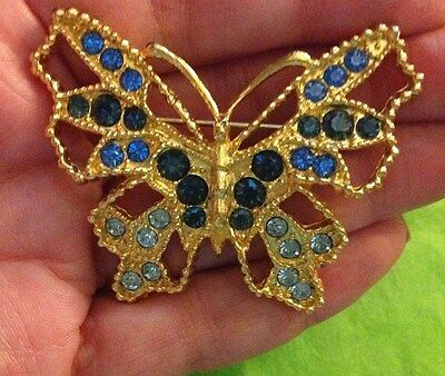 Vintage BLUE Rhinestone BUTTERFLY Brooch Pin gold tone Signed MOD