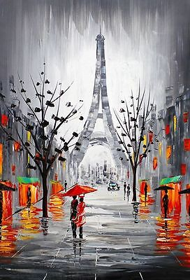 Paris Romantic Love Watercolour Painting Canvas home wall art choose your size