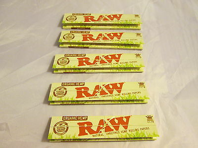 Raw Organic Hemp Natural Unrefined Rolling Papers King Size Slim 5 Pack Lot