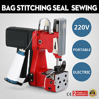 220V Industrial Bag Stitching Closer Seal Sewing Machine Red Cloth Alloy GOOD