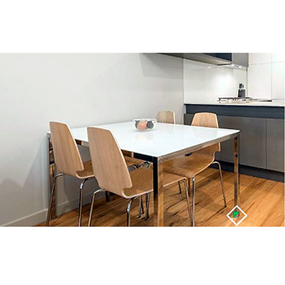 AS NEW - 4 Seat IKEA Dining Table and Chairs Apartment Living White Glass Top