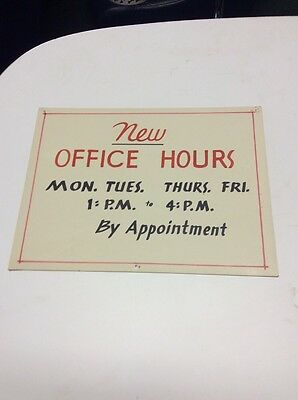 Vintage Sign Office Hours
