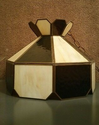 Vintage Octagonal Lamp Shade Stained Gl Table Light Brown And White