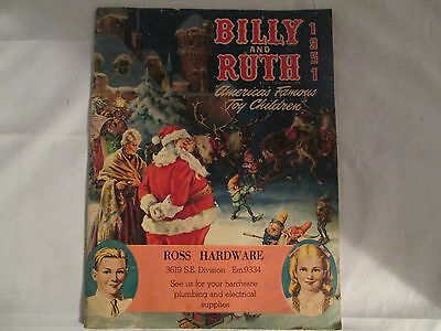 1951 Billy & Ruth Christmas Toy Catalog Ross Hardware Portland,OR  DN3