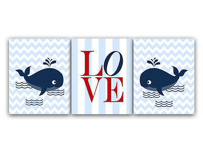 """Nursery Whale """"LOVE"""" Prints on PHOTO PAPER or CANVAS - KIDS128"""