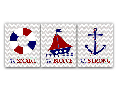 """PHOTO PAPER or CANVAS """"Be Smart, Be Brave, Be Strong"""" Nautical Nursery - KIDS33"""