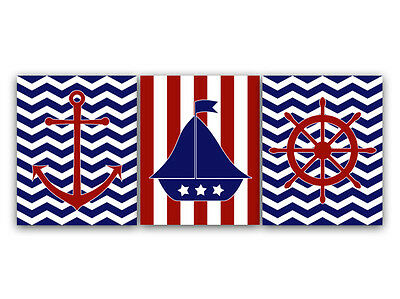 PAPER PRINTS or CANVAS Nautical Nursery Art Prints in Red White Blue - KIDS57