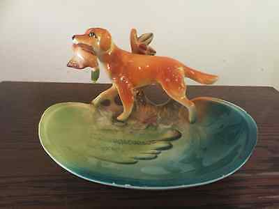 Pottery Golden Retriever Dog With Duck Pin Dish Kitsch