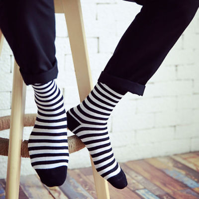 Fashion Unisex Casual Cotton Socks Black and White Striped Mens Women's Socks