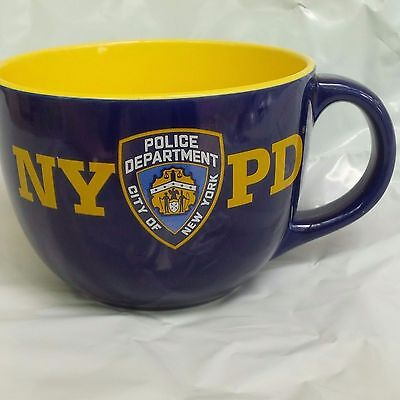 Nypd City Of New York Police Department Soup Bowl Jumbo Ceramic Cobalt Yellow