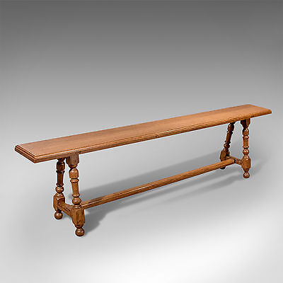 Antique Quality Edwardian English Oak 6' Bench Seat Country Kitchen Pew c1910
