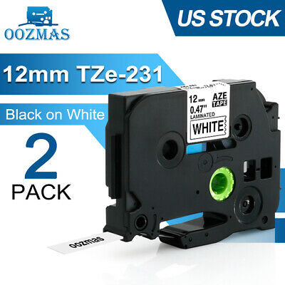 2PK TZ-231 Black on White Compatible for Brother P-Touch 12mm   Label Maker Tape