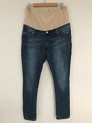 Womens Blue Jeans West Maternity super skinny stretch Jeans Size 14
