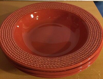"Euro Ceramica, 10 1/8"" Red Ribbed Bowls, 2"" Tall, Set Of 3, Made In Portugal"