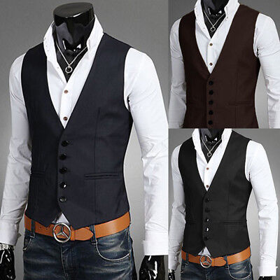 NEWEST Men's Formal Casual Dress Vest Suit Slim Fashion Tuxedo Waistcoat Coat