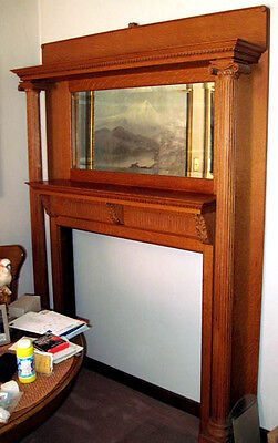 Absolutely Gorgeous Turn of the Century Oak Mantel w/Beveled Mirror