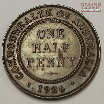 1926 Australian Half Penny - Harder Date In This Grade Almost Uncirculated Grade