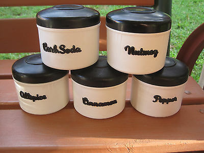 Set Of 5 Black & White Vintage Retro Eon Spice Canisters