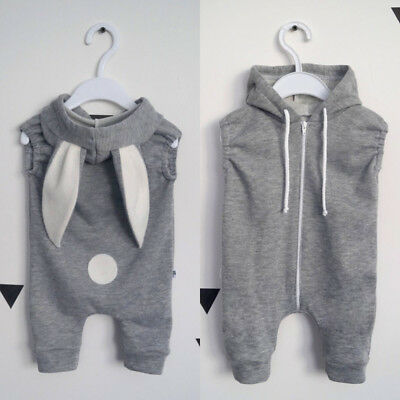 Toddler Kid Baby Girl Boy Rabbit 3D Ear Romper Jumpsuit Bodysuit Outfits Clothes