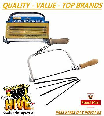 """Marksman 6.5"""" Metal Steel Coping Saw With 5 Blades Strong Wooden Handle Diy"""