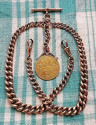 9ct Gold, 60.5g,Double Albert Chain & Rare,1717 Gold Guinea Mounted as Fob Medal