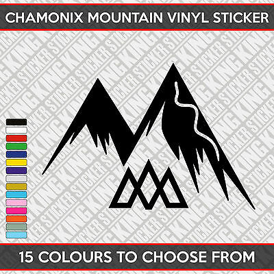 Chamonix Mountain Ski Slope Vinyl Decal Sticker Car Bumper Window 16cm x 11cm
