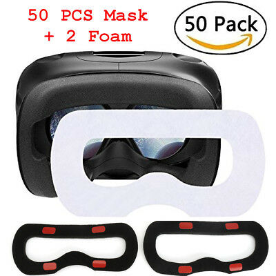 50Pcs Disposable Sanitary Facial/Eye Mask + 2 Replacement Foam for VR Headset