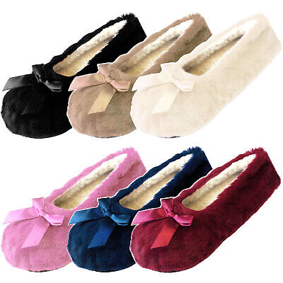 Ladies Womens Winter Ballerina Style Slippers Cosy Fleece Lining Grip Soles Bow