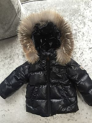 Monclear Baby Boys Navy Padded Down Jacket With Fur Trim Hood