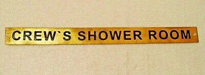 CREW`S SHOWER ROOM – Marine BRASS Door Sign -  Nautical - 12 x 1 Inches(155)