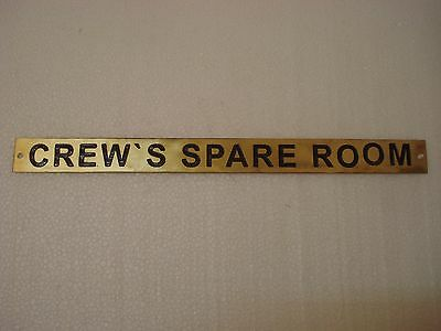 CREW`S SPARE ROOM	  – Marine BRASS Door Sign - Nautical -  12 x 1 Inches (157)