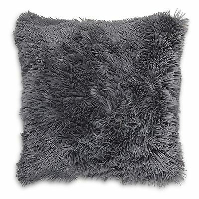 "Long Pile Super Soft and Cuddly Shaggy 17x17"" (43x43cm) Cushion Cover (Charcoal)"
