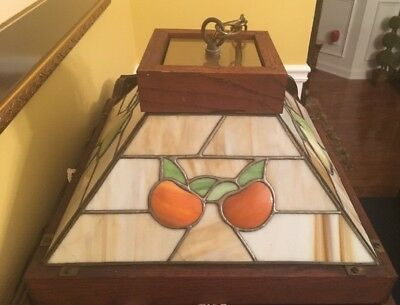 Vintage Stained Glass Fruit Pears/Apples Kitchen Hanging Light Lamp  SWAG