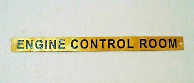 ENGINE CONTROL ROOM  – Marine BRASS Door Sign - Nautical - 12 x 1 Inches (186)