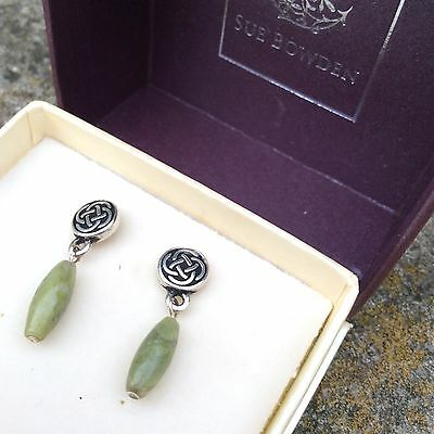 Connemara marble traditional Celtic knot stud earrings. Irish made gift Jewelry