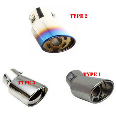 HQ Auto Car Universal Round Stainless Steel Chrome Exhaust Tail Muffler Tip Pipe