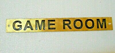 GAME ROOM – Marine BRASS Door Sign -  Boat/Nautical - 8 x 1 Inches (218)