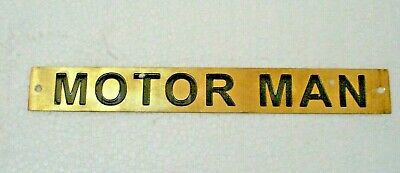 MOTOR MAN – Marine BRASS Door Sign -  Boat/Nautical - 8 x1 Inches (239)