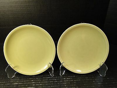 """TWO Paden City Pottery Greenbriar Bread Plates 6"""" Green"""