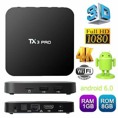 UK 4K TX3 Pro 1G+8G Smart TV Box Quad Core Android 6.0 Free Internet Live Movies