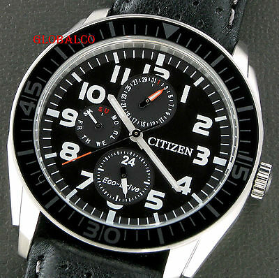 "New Citizen Men's Watch Eco-Drive Crhono Leather Black Dial Ap4010-03E ""us Selle"