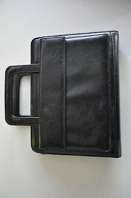 Franklin Covey Leather Planner Organizer Handles 365 Black Leather Excellent