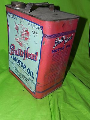 Bull's Bulls Head Advertising  Sign Two Gallon Service Gas Station Motor Oil Can