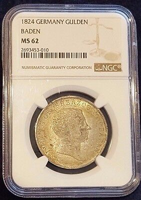 RARE 1824 German States Baden 1 Gulden NGC MS62 ~ Only graded example! Top Pop
