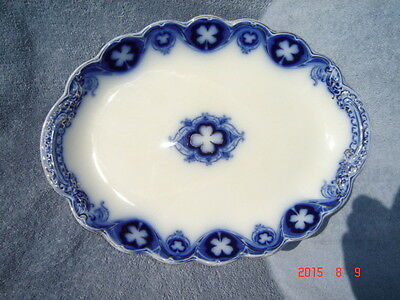 Antique Johnson Brothers China Vegetable Bowl-Savoy (Flow Blue with Gold Accent)