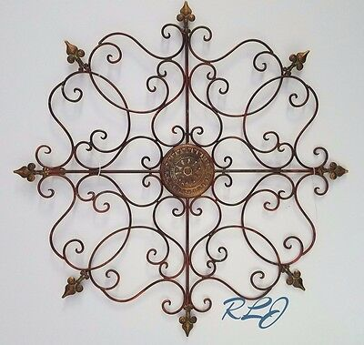 Decorative Rustic Vintage Antique Wrought Iron Scrolling Wall Grille Art Plaque