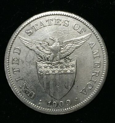 1909s US-Philippines 1 Peso Silver Coin - lot #18